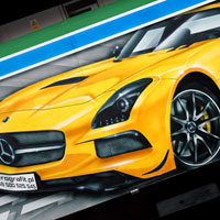 airbrush aerograf custom painting autodrom autoscooter atrraction cars race mercedes yellow clk cls