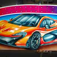 airbrush aerograf autodrom dodgems attraction carrousel rollercoaster gasmonkey cars race speed