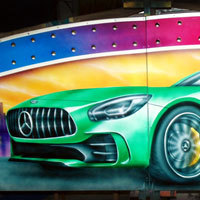 airbrush aerograf autodrom autoscooter attraction carrousel karuzelegasmonkey tuning race speed green mercedes