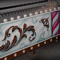 airbrush aerograf attraction painting ferris wheel ruskie kolo karuzela malowanie gold silver white złoty srebrny biały róże