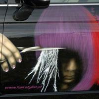 airbrush aerograf reklama fryzjer samochód