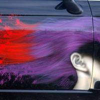 airbrush aerograf graffiti na samochodzie salon fryzjerski