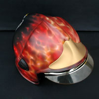 airbrush aerograf true fire real flames helmet