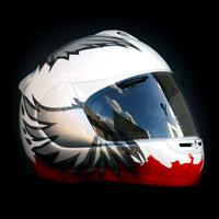 airbrush aerograf malowanie kasku Arai motorcycle motocykl polska poland patriotyzm orzeł red white