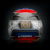Arai helmet painted by airbrush custom kart