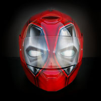 airbrush aerograf custom helmet kask motocyklowy skwal d-skwal deadpool venom painting spiderman head red
