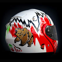 airbrush aerograf malowanie kasku helmet Shoei gielda stock makler bessa money bear