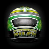 airbrush aerograf kask bell kart gokart karting racing green yellow silver sport