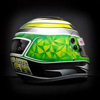 airbrush aerograf kask custom helmet kart gokart karting race green yellow silver