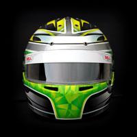 airbrush aerograf custom helmet bell gokart karting race racing yellow silver sport