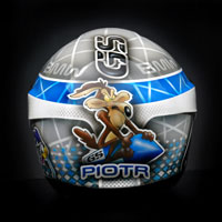 airbrush custom painting motorcycle helmet motocyklowy motor schuberth c4 struś pędziwiatr roadrunner coyote BMW GS R1200 blue white grey race