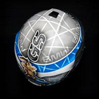 airbrush aerograf painting motorcycle helmet kask motor schuberth c4 kojot struś pędziwiatr GS R1200 blue white grey race