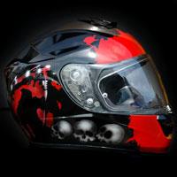 aerograf airbrush helmet kask motyw smierci czerwono czarny