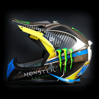 airbrush aerograf painting monster energy drink racing cross helmet motorcycle motor kask crossowy  motocykl
