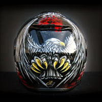 airbrush aerograf custom painting motorcycle art kask shoei neotec orzeł polska poland patiotic white red