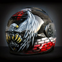 airbrush aerograf custom painting helmet shoei neotec II patriotyczny polska poland patiotic eagle red white