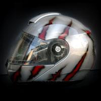 airbrush aerograf malowanie motorcycle helmet painting wilk steel metal stal rozdarcia krew blood