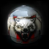 airbrush aerograf kask motocyklowy helmet painting wolf wilk metal stal tears rozdarcia blood