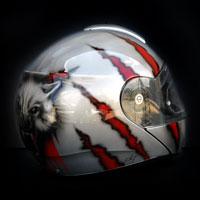 airbrush aerograf kask motocyklowy motorcycle painting wolf wilk steel stal tears rozdarcia krew