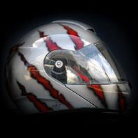 airbrush aerograf kask motocyklowy malowanie helmet wolf wilk steel metal tears krew blood