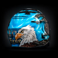 aerograf airbrush custom painted shoei sky eagles