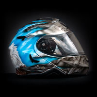 aerograf airbrush art painted shoei neotec helmet