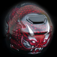 aerograf airbrush smok devil dragon helmet