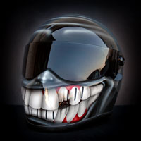 airbrush aerograf custom painting art motocyklowy bandit motorcycle smile tooth grey