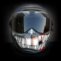 airbrush aerograf custom painting bandit motorcycle helmet kask motocyklowy smile teeth uśmiech zęby grey szary
