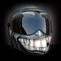 airbrush aerograf custom painting helmet art bandit smile teeth tooth zęby grey szary