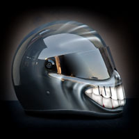 airbrush aerograf custom painting motorcycle helmet art smile uśmiech grey szary
