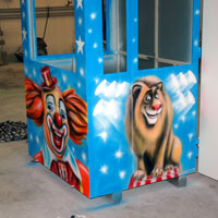 airbrush aerograf circus cyrk clown lion