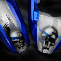 airbrush aerograf motorcycle suzuki gsxr skull aluminium metal effect