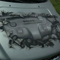 aerograf airbrush samochód motyw silnik widoczny przez maskę