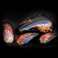 airbrush aerograf painting motocykl motorcycle fire flame truefire horse vulcan