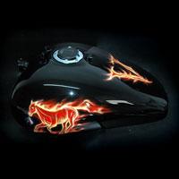 airbrush aerograf motocykl motorcycle chopper fire flame truefire horse mustang