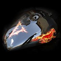 airbrush aerograf painting motocykl motorcycle fire flame horse mustang vulcan