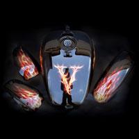 airbrush aerograf painting motorcycle chopper fire flame horse mustang vulcan